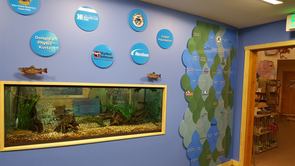 Trout Tank and Donor Wall